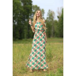 Shabby Apple Bridget Green Peach Floral Maxi Dress